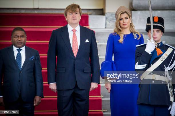 King Willem-Alexander of The Netherlands and Queen Maxima of The Netherlands welcome President Filipe Nyusi of Mozambique and his wife Isaura Nyusi...