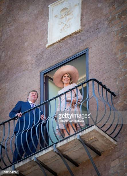 King Willem-Alexander of The Netherlands and Queen Maxima of The Netherlands visit Campidoglio during the first day of a royal state visit to Italy...