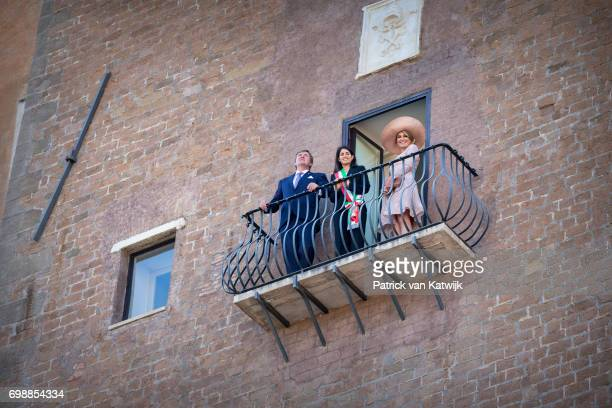 King Willem-Alexander of The Netherlands and Queen Maxima of The Netherlands visit mayor Virginia Raggi at Campidoglio during the first day of a...