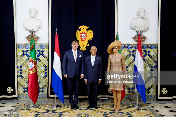 King WillemAlexander of The Netherlands and Queen Maxima of The Netherlands visit President Marcelo Rebelo de Sousa of Portugal at Palacio de Belem...