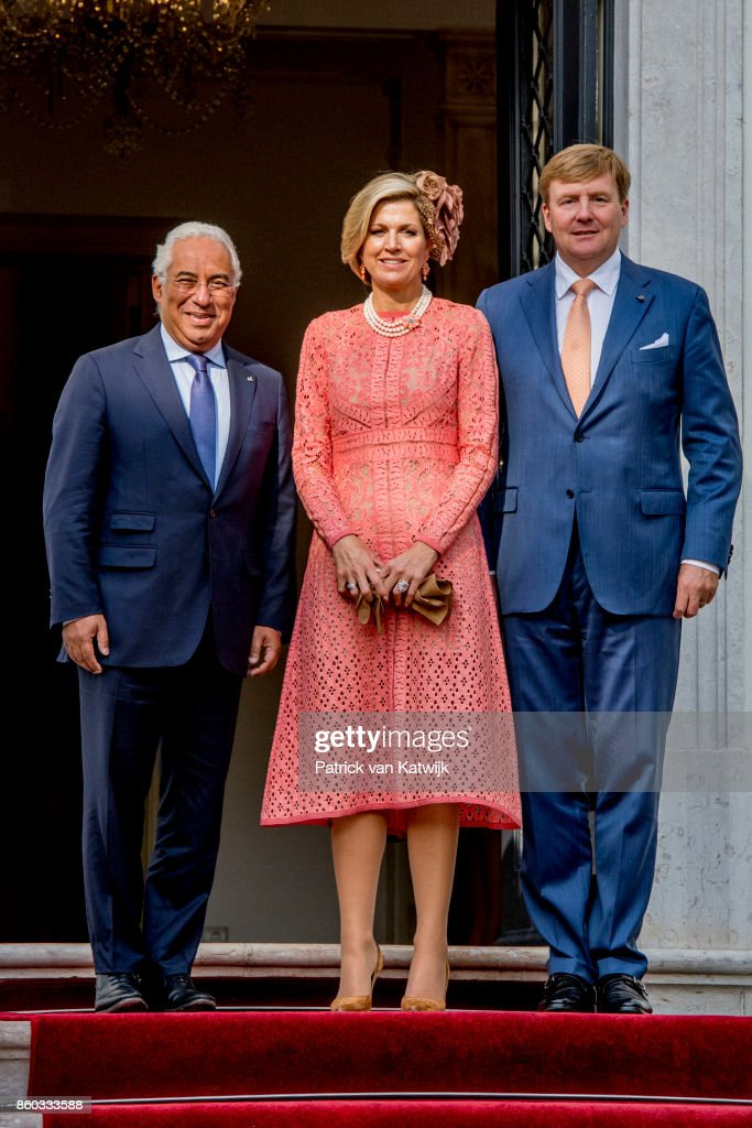 King Willem-Alexander of The Netherlands and Queen Maxima of The Netherlands visits Prime Minister Antonio Costa at Palacio de Sao Bento on October 11, 2017 in Lisboa CDP, Portugal.