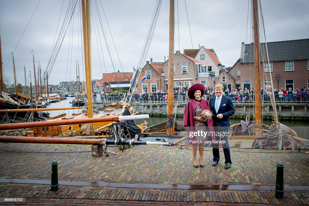 King Willem-Alexander of The Netherlands and Queen Maxima of The Netherlands visit care and living center De Haven and museum harbor Spakenburg during there region visit to Eemland on October 24, 2017 in Spakenburg, Netherlands.