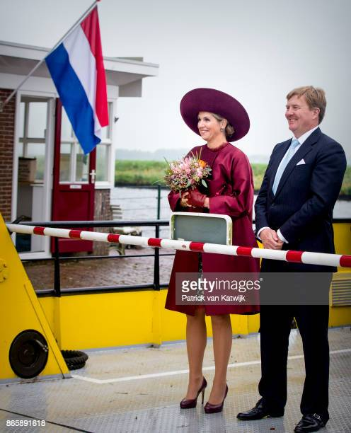King WillemAlexander of The Netherlands and Queen Maxima of The Netherlands visit water pomp system Gemaal Eemnes and sail with the ferry boat to...