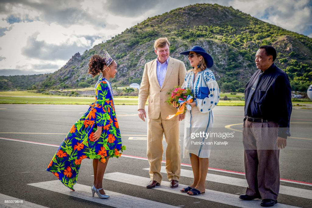 King Willem-Alexander of The Netherlands and Queen Maxima of The Netherlands visit Solar Park and the reconstruction of houses on November 30, 2017 in Oranjestad, Sint Eustatius. The King and Queen visit Sint Eustatius after Hurricane Irma damaged the island.