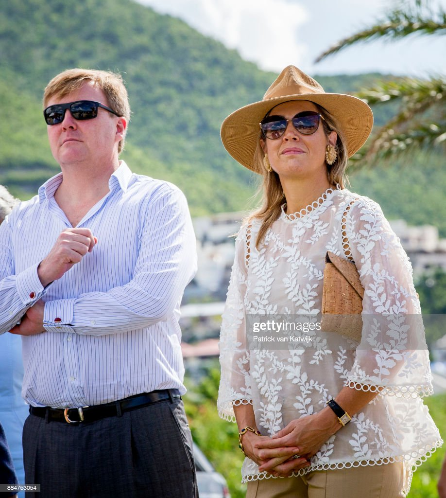 King Willem-Alexander Of The Netherlands And Queen Maxima Visit St Maarten : Nieuwsfoto's