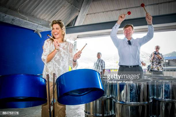 King WillemAlexander of The Netherlands and Queen Maxima of The Netherlands visit reconstruction projects and damaged areas in Sint Maarten after the...