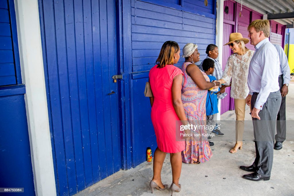 King Willem-Alexander of The Netherlands and Queen Maxima of The Netherlands visit reconstruction projects and damaged areas in Sint Maarten after the destruction of hurricane Irma on December 02, 2017 in Philipsburg, Sint Maarten.