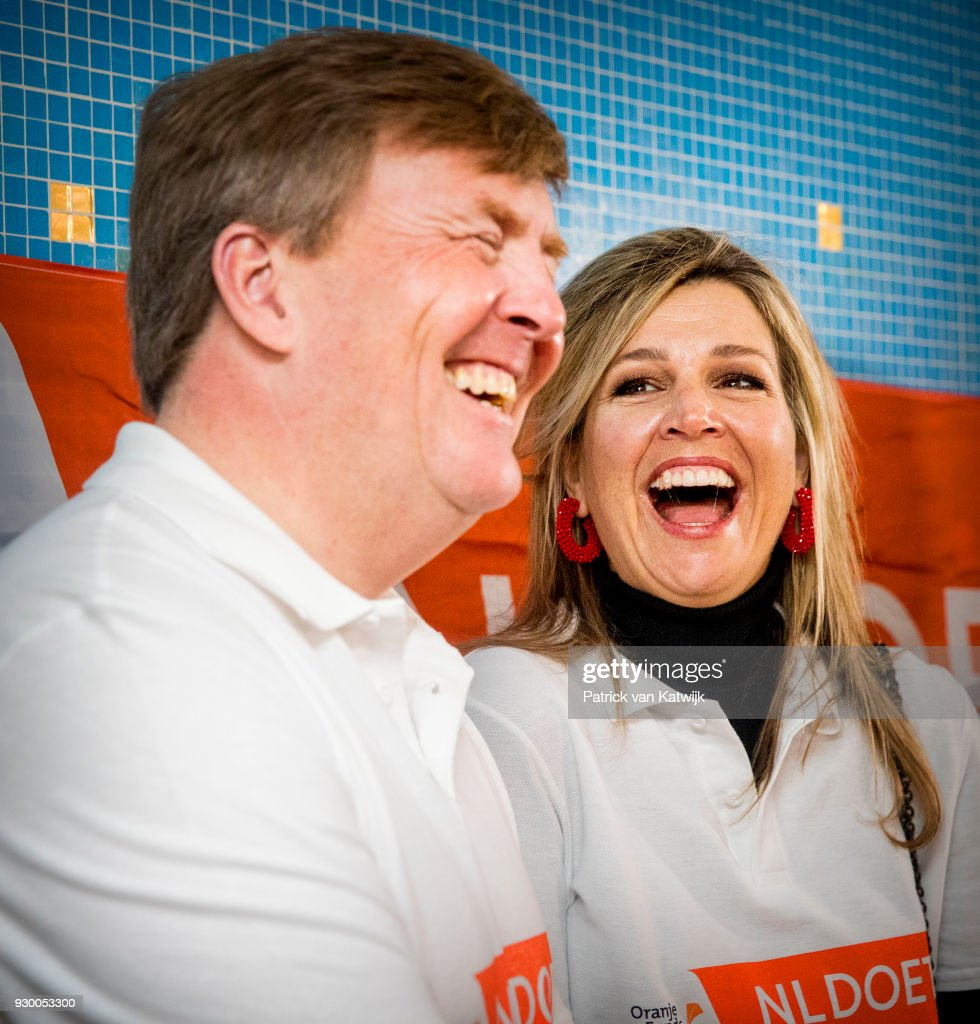 King Willem-alexander of The Netherlands and Queen Maxima of The Netherlands volunteer during the NL Doet at residential care centre 't Hofland in Pijnacker on March 10, 2018 in Pijnacker, Netherlands.