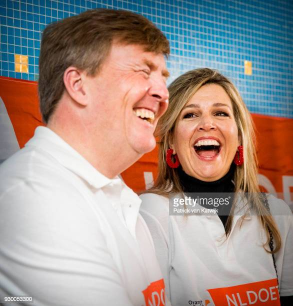 King Willemalexander of The Netherlands and Queen Maxima of The Netherlands volunteer during the NL Doet at residential care centre 't Hofland in...