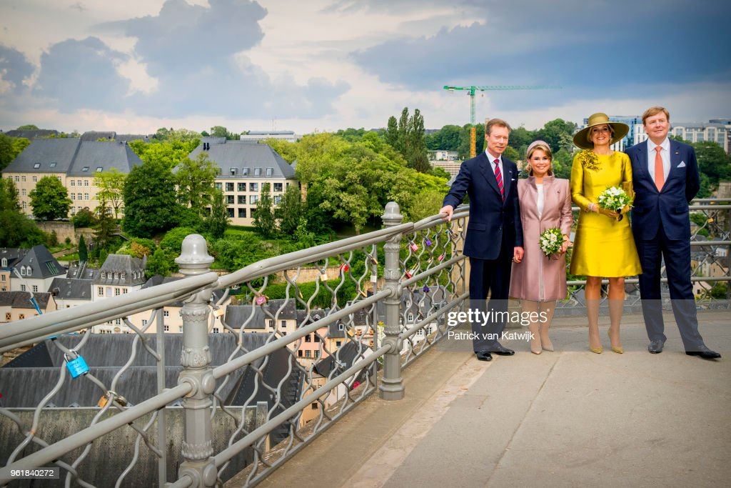 King Willem-Alexander of The Netherlands and Queen Maxima of The Netherlands, Grand Duke Henri of Luxembourg and Grand Duchess Maria Teresa of Luxembourg during their walk through Luxembourg city on May 23, 2018 in Luxembourg, Luxembourg. The Dutch King and Queen are in Luxembourg for an three day state visit