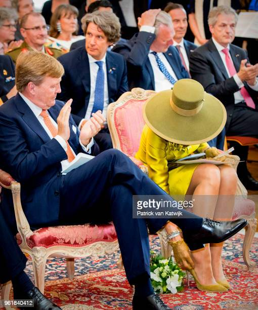 King WillemAlexander of The Netherlands and Queen Maxima of The Netherlands during their visit to the Town Hall of Luxembourg on May 23 2018 in...