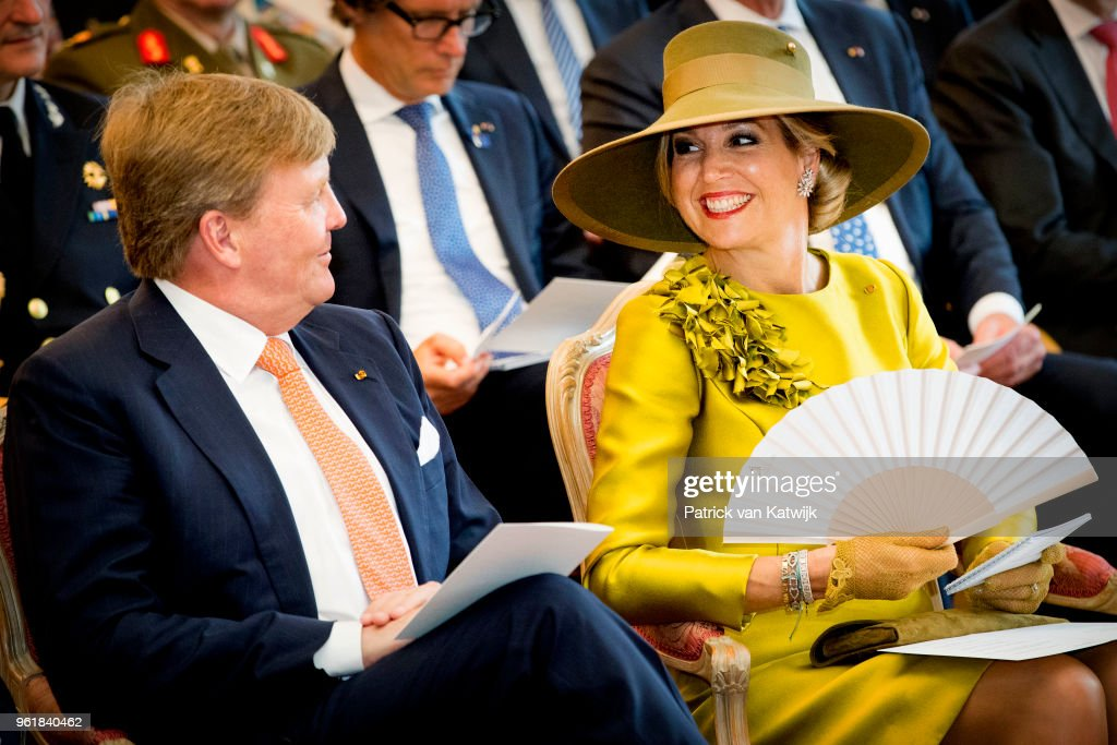 King Willem-Alexander of The Netherlands and Queen Maxima of The Netherlands during their visit to the Town Hall of Luxembourg on May 23, 2018 in Luxembourg, Luxembourg. The Dutch King and Queen are in Luxembourg for an three day state visit