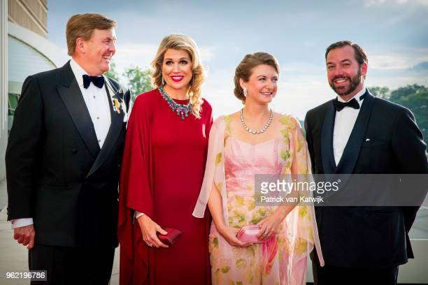 King WillemAlexander of The Netherlands and Queen Maxima of The Netherlands welcome Hereditary Grand Duchess Stephanie of Luxembourg and Hereditary...