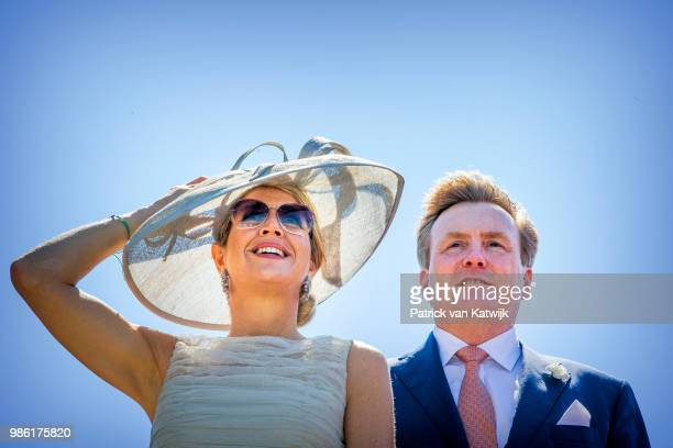 King Willem-Alexander of The Netherlands and Queen Maxima of The Netherlands during their region visit to West-Friesland on June 28, 2018 in Hoorn,...