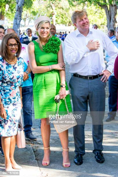 King WillemAlexander of The Netherlands and Queen Maxima of The Netherlands visits Excel Arts Academy during the Dia di Bandera celebrations on July...