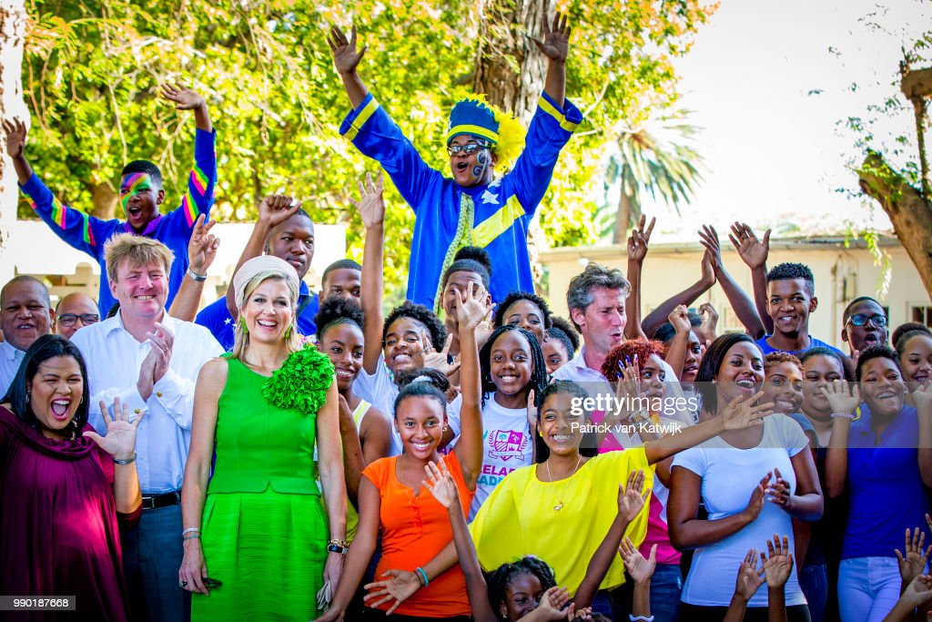King Willem-Alexander of The Netherlands and Queen Maxima of The Netherlands visits Excel Arts Academy during the Dia di Bandera celebrations on July 2, 2018 in Willemstad, Curacao. Excel Arts Academy won the Appeltje van Oranje Award from the Oranje Foundation.