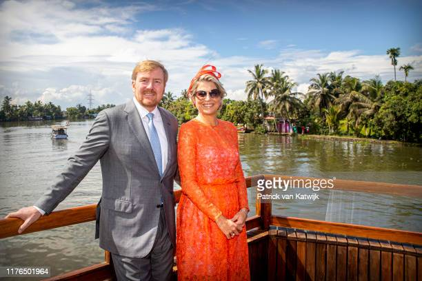 King WillemAlexander of The Netherlands and Queen Maxima of The Netherlands pose during an cruise on October 17 2019 in Alleppey India