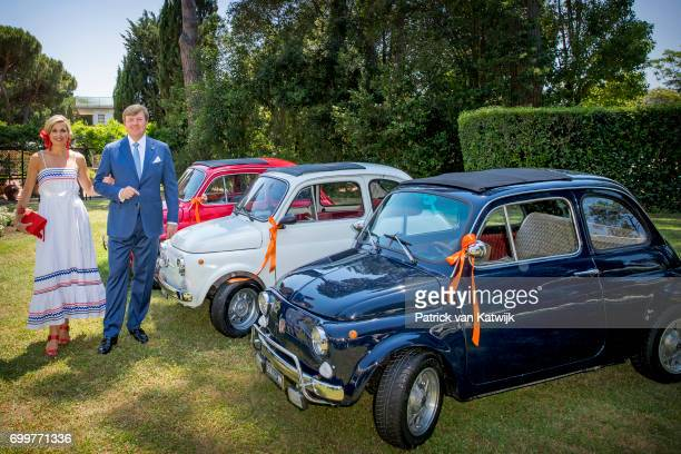 King WillemAlexander of The Netherlands and Queen Maxima of The Netherlands pose with three Fiat 500 cars in Rome on June 22 2017 in Rome Italy