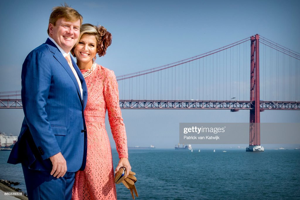 King Willem-Alexander of The Netherlands and Queen Maxima of The Netherlands pose at the Taag on October 11, 2017 in Lisboa CDP, Portugal.