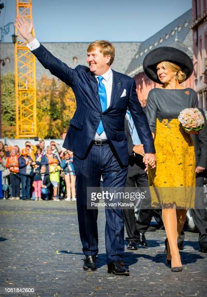 King WillemAlexander of the Netherlands and Queen Maxima of The Netherlands visit the State Chancellery on October 10 2018 in Mainz Germany