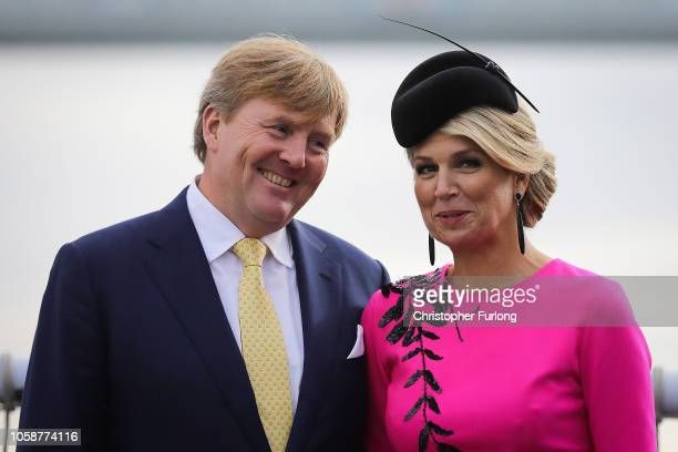 King WillemAlexander of the Netherlands and Queen Maxima of the Netherlands board the Dutch ship HNLMS Zeeland anchored on the Thames next to HMS...