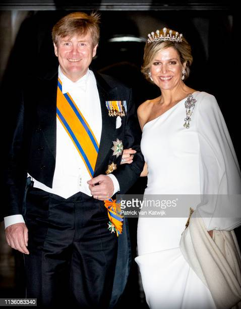 King Willem-Alexander of The Netherlands and Queen Maxima of The Netherlands leave the Royal Palace after the annual gala diner for the Diplomatic...