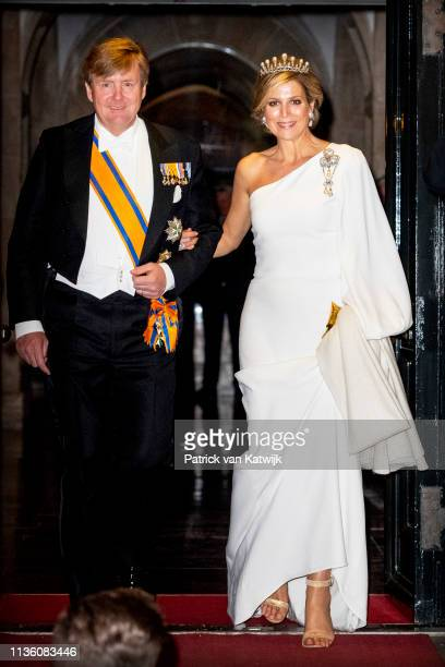 King Willem-Alexander of The Netherlands and Queen Maxima of The Netherlands leaves the Royal Palace after the annual gala diner for the Diplomatic...