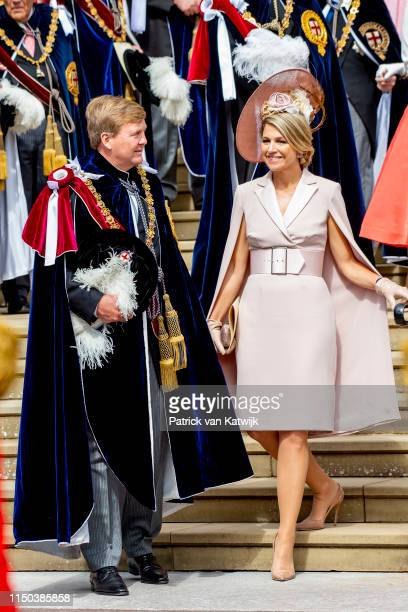 King Willem-Alexander of The Netherlands and Queen Maxima of The Netherlands attends the Order of the Garter Service at St George's Chapel in Windsor...