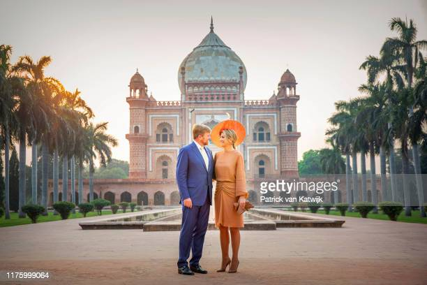 King WillemAlexander of The Netherlands and Queen Maxima of The Netherlands visit the Tomb of Safdarjung during their state visit on October 15 2019...
