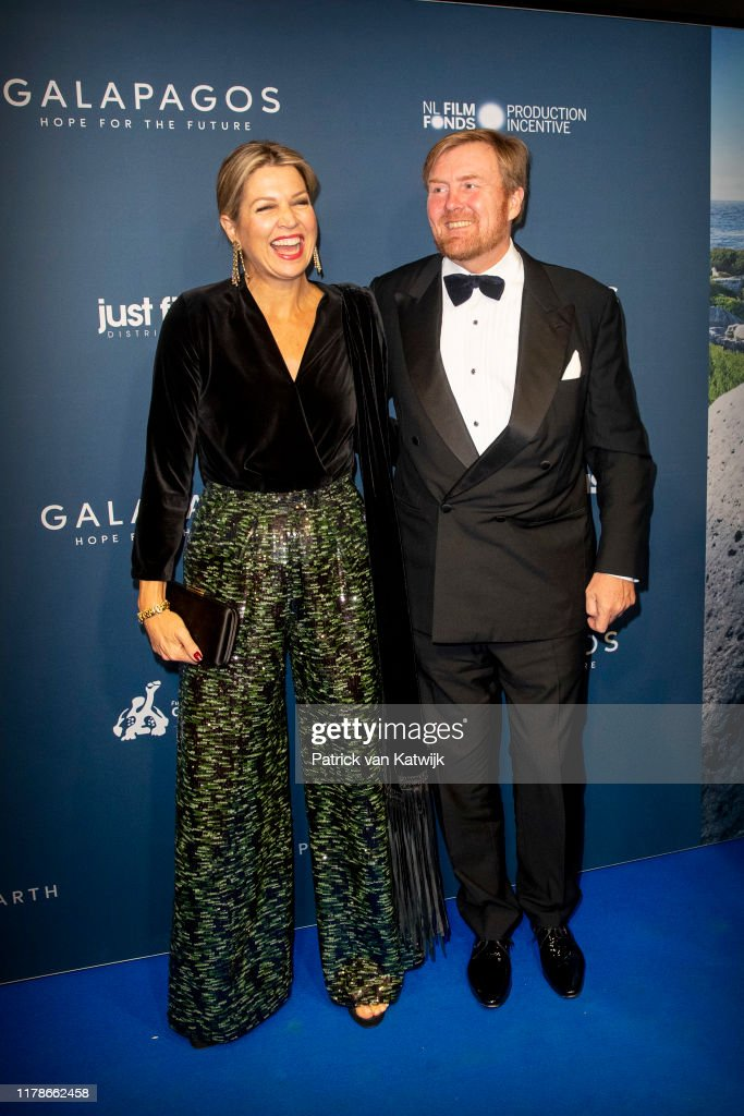 King Willem-Alexander Of The Netherlands And Queen Maxima Attend The Premiere of Galapagos In Amsterdam : News Photo
