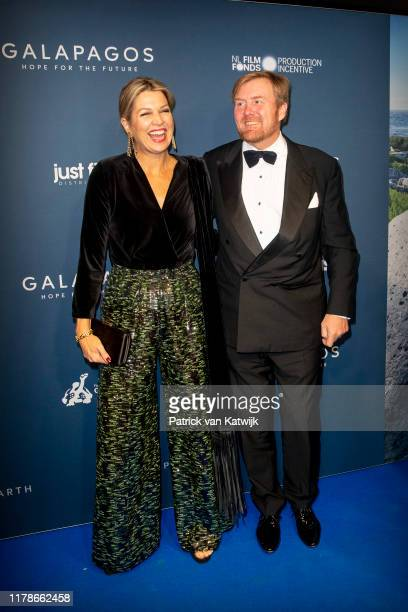 King Willem-Alexander of The Netherlands and Queen Maxima of The Netherlands attend the premiere of Galapagos: Hope for the Future on October 28,...