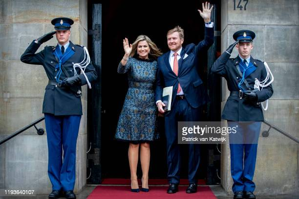 King Willem-Alexander of The Netherlands and Queen Maxima of The Netherlands attend the New Year Reception in the Royal Palace on January 14, 2020 in...