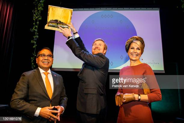 King Willem-Alexander of The Netherlands and Queen Maxima of The Netherlands attend the seminar Indonesia and the Netherlands: A joint Future on...