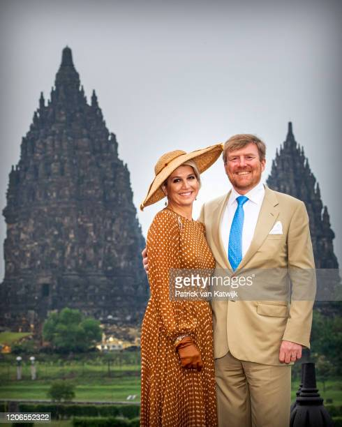 King Willem-Alexander of The Netherlands and Queen Maxima of The Netherlands visit the Prambanan Temple on March 11, 2020 in Yogyakarta, Indonesia.
