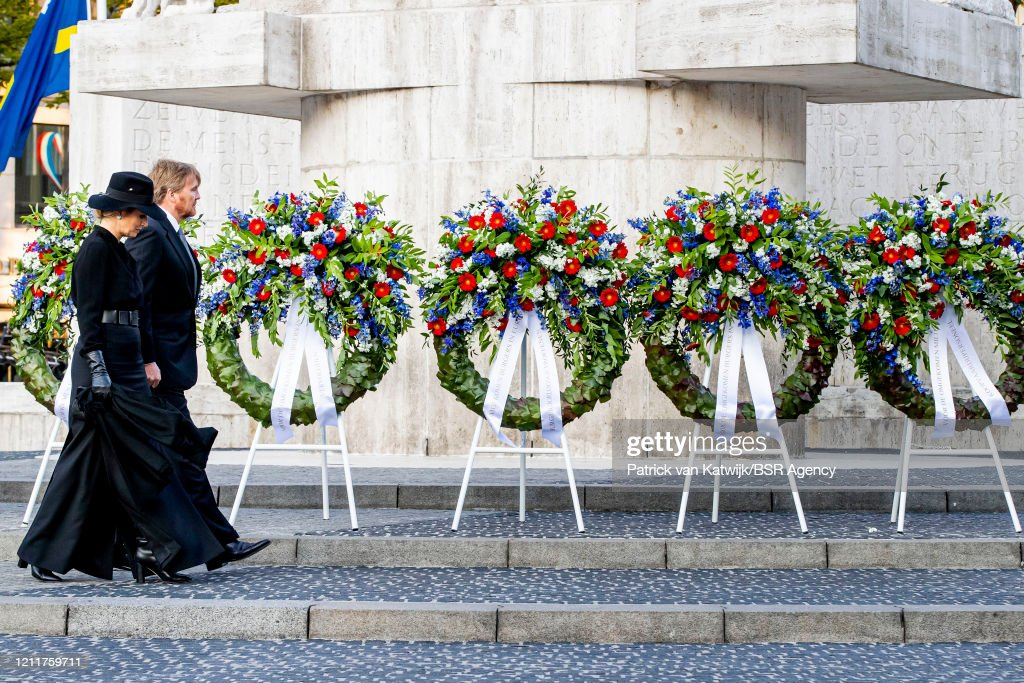 King Willem-Alexander Of The Netherlands And Queen Maxima Attend The Remembrance Day In Amsterdam : News Photo