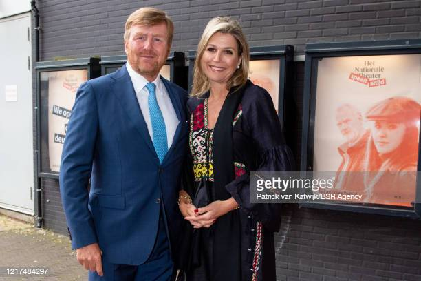 King Willem-Alexander of The Netherlands and Queen Maxima of The Netherlands attend the first theater performance after the reopening during the...