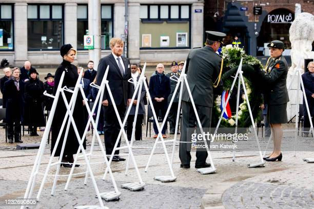 King Willem-Alexander of The Netherlands and Queen Maxima of The Netherlands attend the National Remembrance Ceremony at the Dam Square on May 4,...