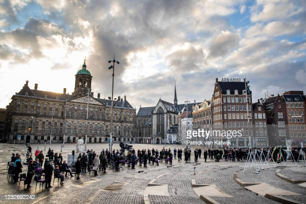 King Willem-Alexander of The Netherlands and Queen Maxima of The Netherlands attends the National Remembrance Ceremony at the Dam Square on May 4,...