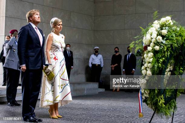 King Willem-Alexander of The Netherlands and Queen Maxima of The Netherlands visits The Neue Wache where they lay down a wreath at the statue of the...