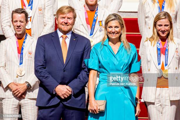King Willem-Alexander of The Netherlands and Queen Maxima of The Netherlands welcome the Olympic Medal winners at Noordeinde Palace on August 10,...