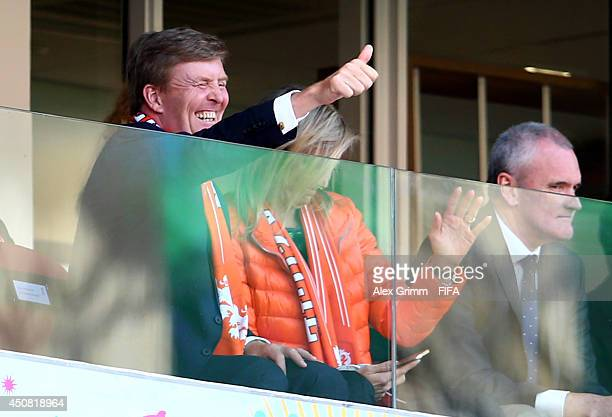 King WillemAlexander of the Netherlands and Queen Maxima of the Netherlands attend the 2014 FIFA World Cup Brazil Group B match between Australia and...