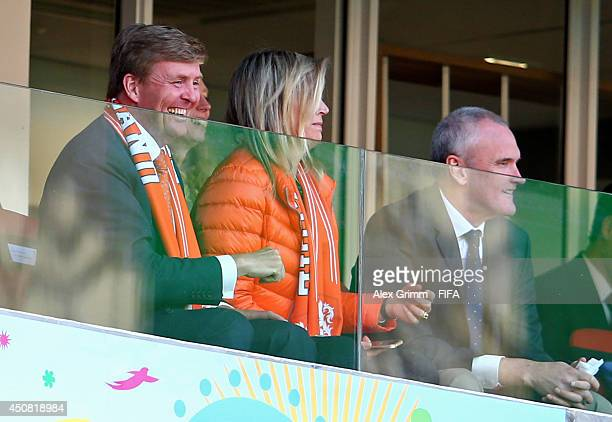 King Willem-Alexander of the Netherlands and Queen Maxima of the Netherlands attend the 2014 FIFA World Cup Brazil Group B match between Australia...