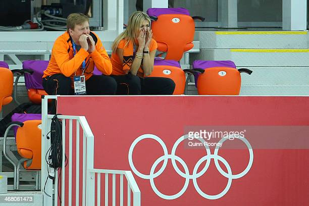 King WillemAlexander of the Netherlands and Queen Maxima of the Netherlands attend the Women's 3000m Speed Skating event during day 2 of the Sochi...