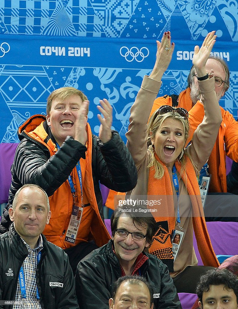 King Willem-Alexander of the Netherlands and Queen Maxima of the Netherlands attend the Short Track on day 3 of the Sochi 2014 Winter Olympics at Iceberg Skating Palace on February 10, 2014 in Sochi, Russia.