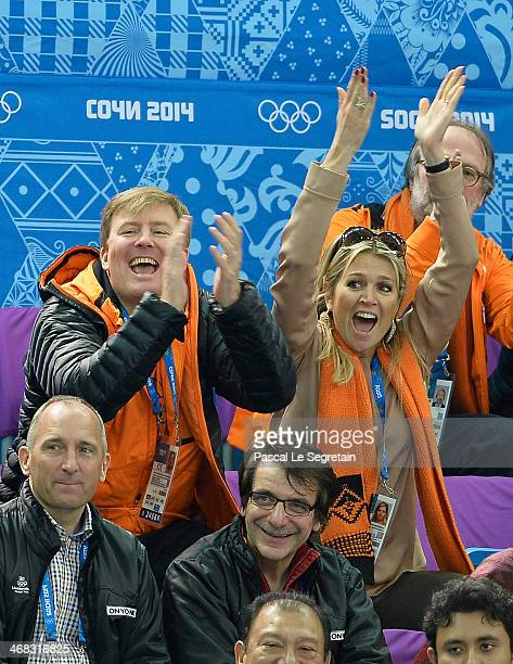King WillemAlexander of the Netherlands and Queen Maxima of the Netherlands attend the Short Track on day 3 of the Sochi 2014 Winter Olympics at...