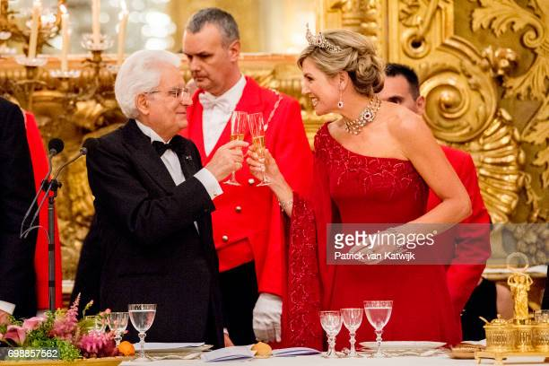 King Willem-Alexander of The Netherlands and Queen Maxima of The Netherlands attend the official state banquet presented by President Sergio...