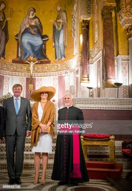 King WillemAlexander of The Netherlands and Queen Maxima of The Netherlands visit the Sicilian parliament and the Cappella Palatina during the second...