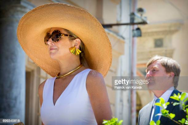 King WillemAlexander of The Netherlands and Queen Maxima of The Netherlands visit the Sicilian parliament and the Cappella Palatina during the first...