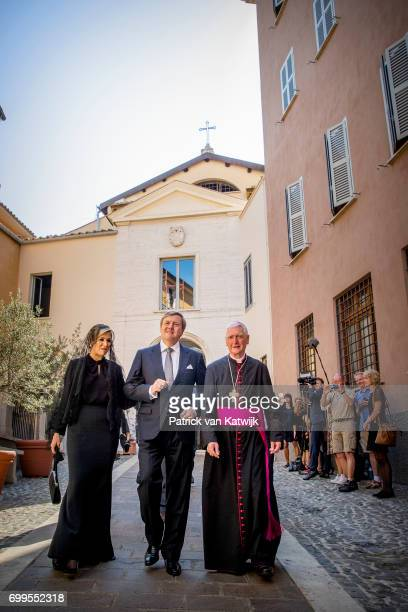 King WillemAlexander of The Netherlands and Queen Maxima of The Netherlands visit the Dutch Friezenkerk at Vatican city on June 22 2017 in Vatican...