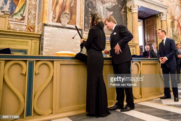 King WillemAlexander of The Netherlands and Queen Maxima of The Netherlands visit the papal library and get the commanders staff of Willem van Oranje...